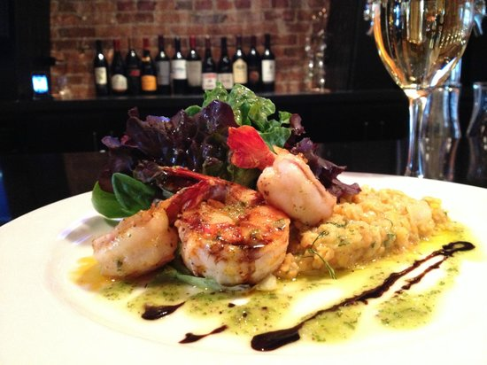 The Red Sun Fire Roasting Co. : mediterranean spiced jumbo shrimp with orange & dill scented red lentils