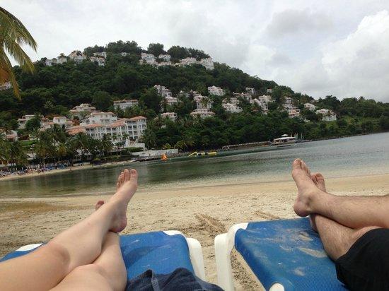Windjammer Landing Villa Beach Resort: View of villas from the beach