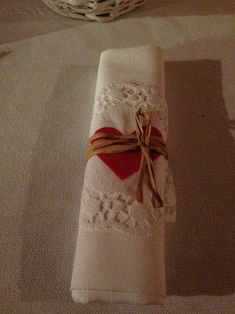 Valbruna Inn: Our dinner napkins on Valentine's Day