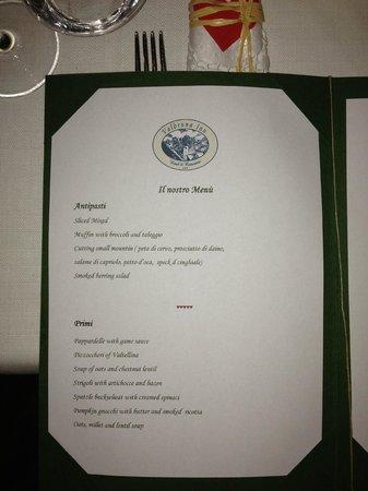 Valbruna Inn: Desert menu.