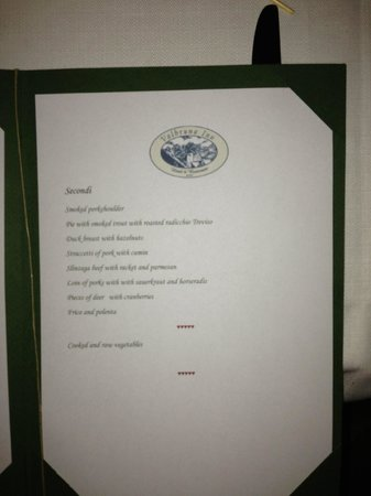 Valbruna Inn: Dinner menu.