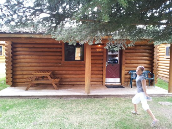 Cowboy Village Resort: Our little cabin (and my flying daughter...)