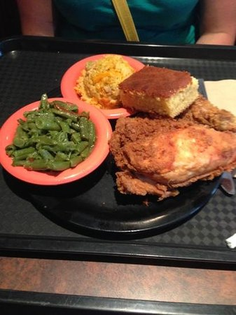 Potter's House Soul Food Bistro Southside: fried chicken, green beans, broccoli rice casserole