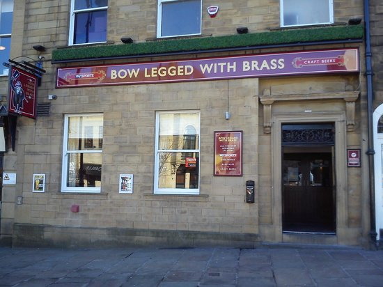 Bow Legged With Brass: front of pub