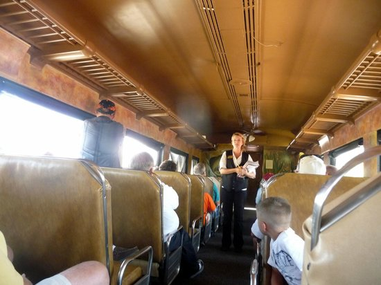 Verde Canyon Railroad: Inside the car as the attendant gave us instructions