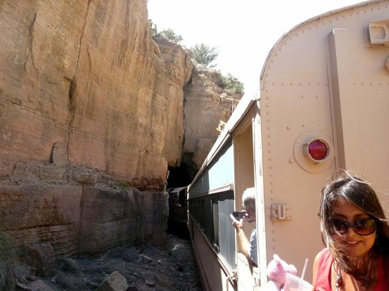 Verde Canyon Railroad: Going through the tunnel