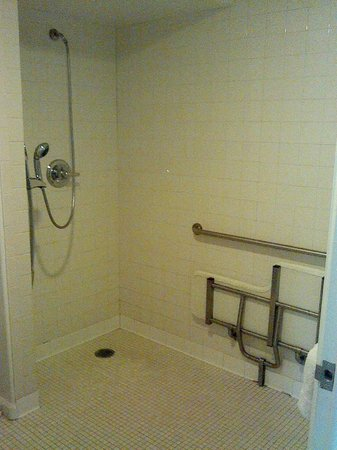 Pacifica Beach Hotel: No wall Shower Head, or Curtain, or any kind of ledge to keep the water in the shower area...