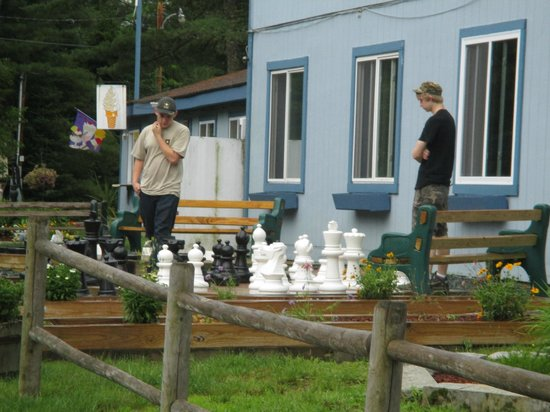 Beech Hill Campground and Cabins: the boys loved the outdoor chess!