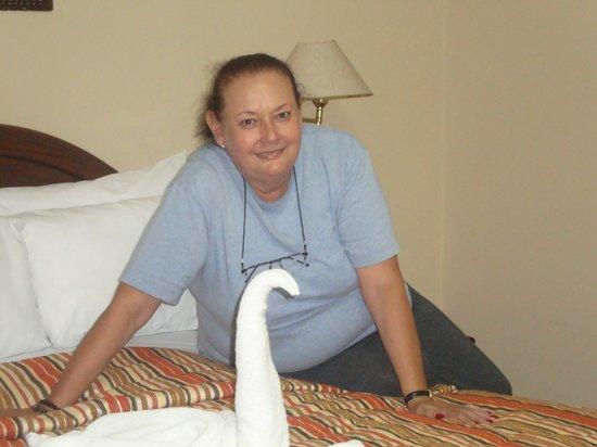 Hostal El Santuario: Tomada desde la habitación con hermoso adorno de cama