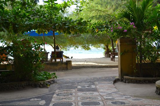 Alam Gili: View toward the beach, across the sand road to the beach & dining area