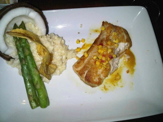 50 Ocean at Boston's on the Beach : My sea bass & coconut risotto