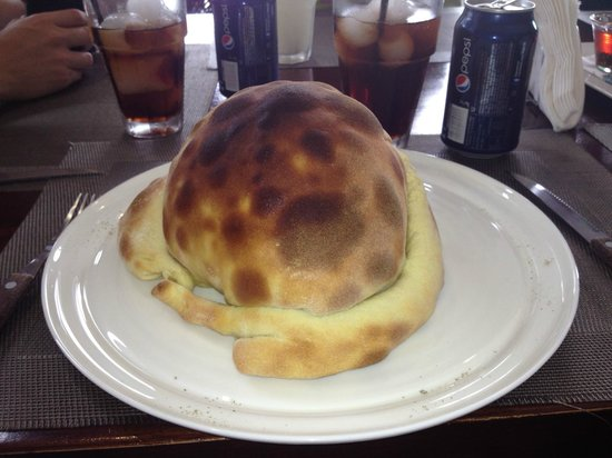 Lo Spago: Strangest Calzone I've ever seen