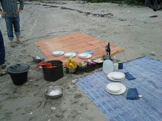 Bufflehead Sailing Charters: Lunch on the beach