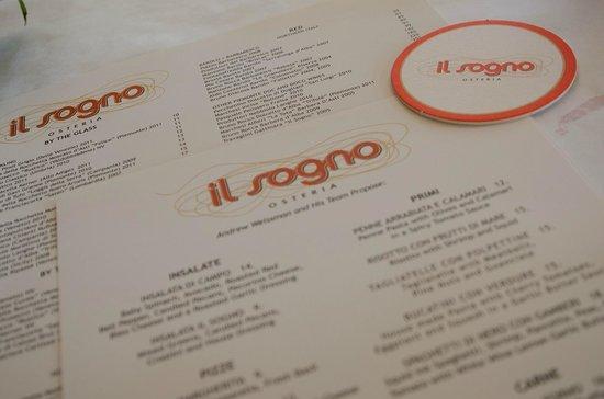 Il Sogno Osteria: The menu and wine menu.