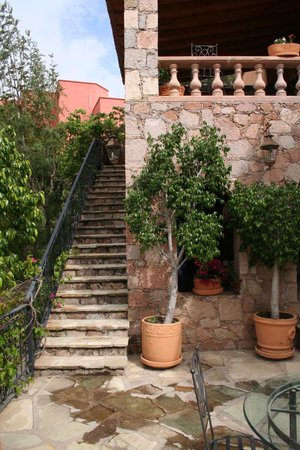 Casa Estrella de la Valenciana: Steps up to the dining terrace