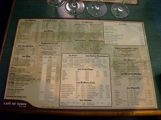 Cafe de Turin: menu