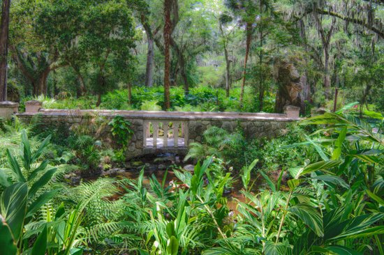 bridge through the gardens - Picture of Dunlawton Sugar Mill Gardens ...
