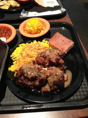 Potter's House Soul Food Bistro Southside: oxtail and rice, baked beans, broc rice casserole, cornbread
