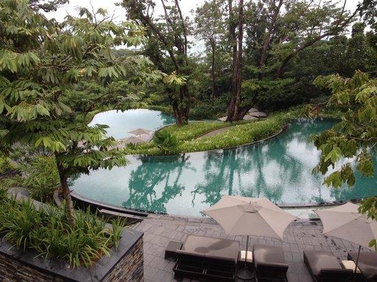 Capella Singapore: la vue sur les piscine