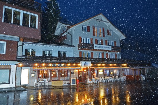Eiger Guesthouse: Evening snow