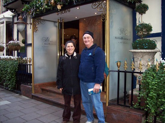 Flemings Mayfair: My husband, Harry, in front of the hotel