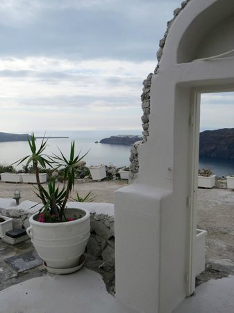Santorini's Balcony: View across the Caldera to Oia from the terrace