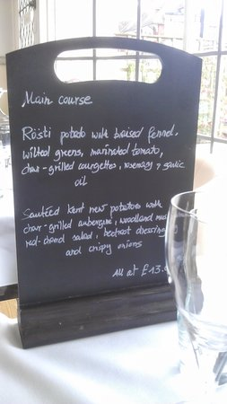 The Fig Tree: Vegan main course menu board - by special request