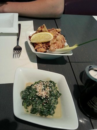 Takenoko: Torikaraage (Japanese-style fried chicken leg) and Horenso Gomaae (spinach with sesame sauce)