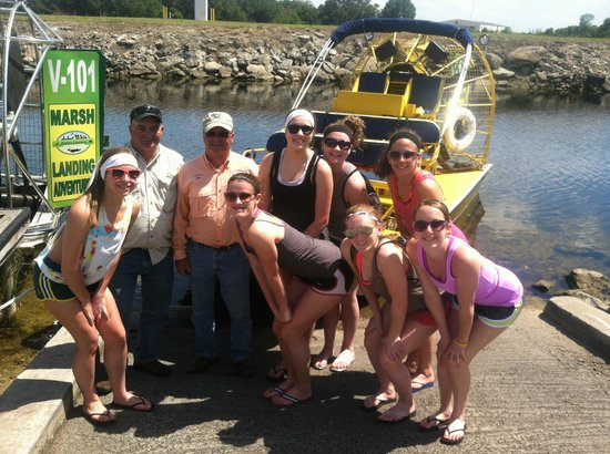 Marsh Landing Adventures: Captain Jim and Captain Bill with Vollyball team