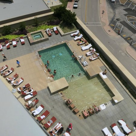 Omni Fort Worth Hotel: View of the BEAUTIFUL pool from our balcony 6-28-13