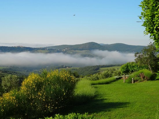 La Locanda: View from room with fog in the Tuscan hills of Chianti