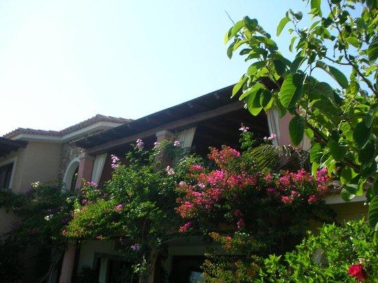 Hotel Mariposas : La terrase du petit déjeuner vue de l'extérieur