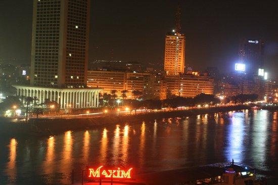 Cairo Marriott Hotel & Omar Khayyam Casino: Nile view with city line at night from Room Balcony
