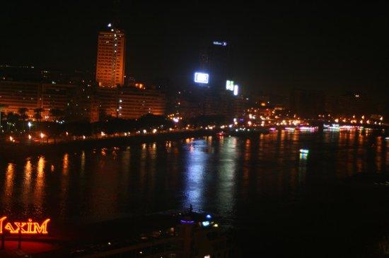 Cairo Marriott Hotel & Omar Khayyam Casino: Nile at Night from Room Balcony