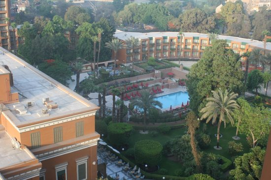 Cairo Marriott Hotel & Omar Khayyam Casino: pool area from room balcony