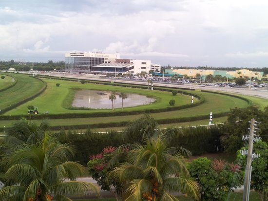 Stadium Hotel: balcony view of the casino and horse race track