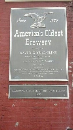 D.G. Yuengling and Son Brewery : Plaque on front of brewery
