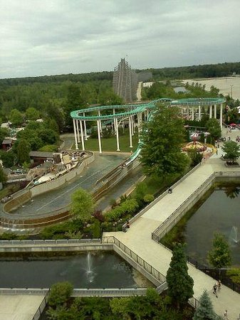 Michigan's Adventure: From high atop the Ferris Wheel, here is the Log Ride and one of the wooden coasters!