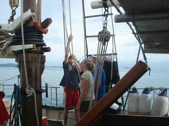 Tallship Adventures-Derwent Hunter Day Tours: Helping with the sailing