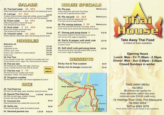 Thai House Takeaway: dinner menu