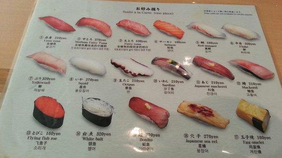Tsukiji Sushisay Honten: One side of the menu.