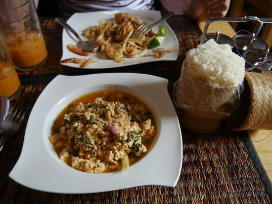 Comida Thai : Chicken larb with sticky rice