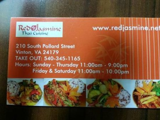 Red Jasmine Thai Cuisine: Business card with phone and hours