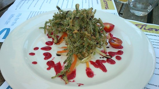 Tierra Kitchen: Sea asparagus fritters with rasberry sauce[cant remember exact name]Deliscious!