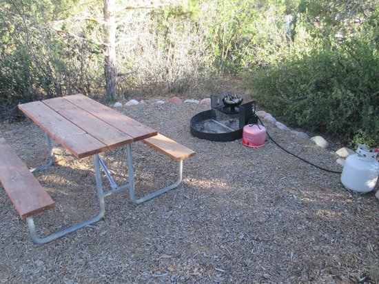 Durango KOA: Picnic table and firepit