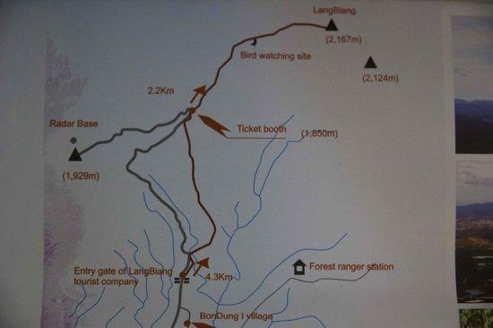 Lang Biang: Map of Langbiang Trail