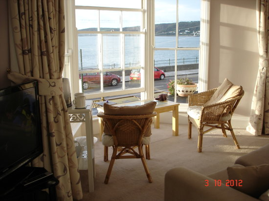 The Lugger Hotel: View from lounge end of bedroom