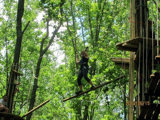 Go Ape Treetop Adventure Course: Walk across the hanging logs