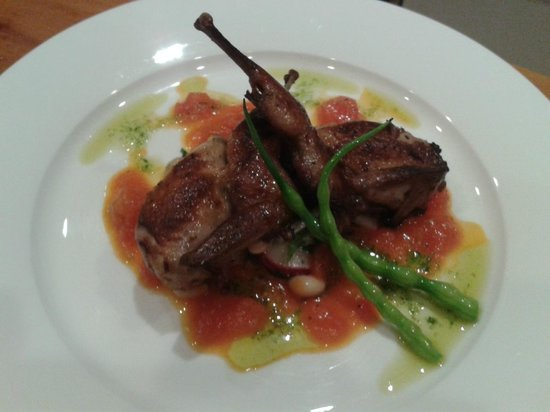 The Old Rectory: Bayleaf infused Quail w/ Tomatoes a la crème-dinner menu