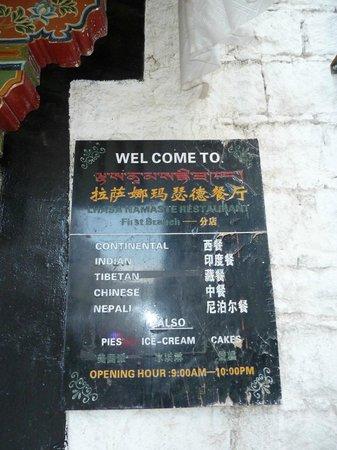 Namaste Restaurant : Sign at entrance